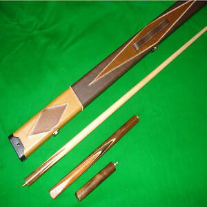 Handmade 57 Inch 3/4 Snooker/Pool Cue Set with Leather Cue Case and Mini-Butt