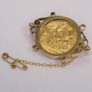 1908 22ct Half Sovereign Coin In Vintage 9ct Brooch Mount King Edward 6.95g