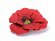 Red poppy brooch, FELTED poppy flower, romantic handmade jewelry, SMALL felt pin