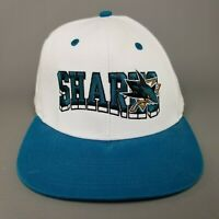 VTG Reebok San Jose Sharks Snapback Hat Block Lettering Hockey Cap White Teal