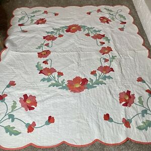 Vintage Quilt Bedspread Printed Cottage Pink Floral Cotton Shabby 78in X 89in
