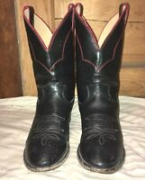 VTG JUSTIN 8.5D Black Leather Western Cowboy Boots, Red Trim Made In USA