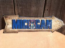 """Michigan State Flag This Way To Arrow Sign Directional Novelty Metal 17"""" x 5"""""""