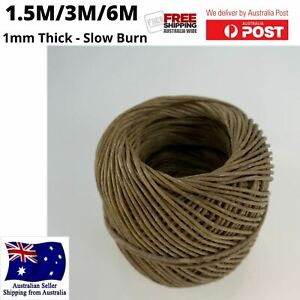 100% Organic Hemp Candle Wick, 1.5M/3M/6M, Natural Beeswax Coated - 1mm Thick
