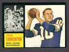 1962 TOPPS FOOTBALL HIGH GRADE SET BREAK #90 FRAN TARKENTON                  NM