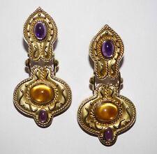 14Kt GOLD Cabochon Citrine Amethyst Drop Earrings Signed Denoir Valued $4975