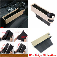 1Pcs Multi-purpose Car Seat Gap Crevice Storage Box Beige PU Leather Accessories