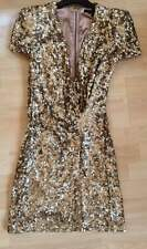 Gold Sequin French Connection Samantha Cap Sleeve Wrap Effect Mini Dress 10