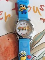 Girls Boys Minions Wrist Watch Analog Silicone Strap Wristwatch Sky Blue Slim CH
