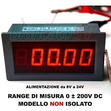 VOLTMETRO DIGITALE DA PANNELLO DC 0 - 200V corrente continua LED ROSSO tester
