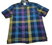 Tommy Bahama Mens Colorful Plaid Front Pocket Button Front Silk Shirt Size Large