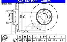 ATE Juego de 2 discos freno Antes 238mm ventilado para NISSAN MICRA