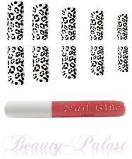 Nagel Tips Leopard mit Kleber Nailart Airbrush Tips Designtips Frenchnails 15