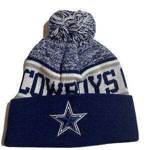 Dallas Cowboys NFL Winter Pom Knit Cuffed Beanie Cap Hat NEW
