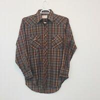 VTG Wrangler Men's Shirt Size 15.5 Permanent Press Long Tails Western Snap Plaid