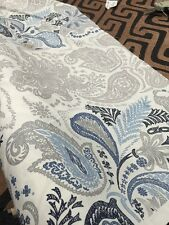 Cotton Paisley Print Silver Blue Fabric Curtains Blinds