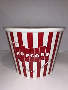 Williams Sonoma Red And White Ceramic  Popcorn Bucket 'Admit One' 9x6.25""