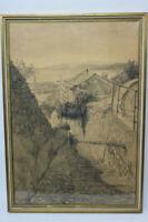 Gustav Müller Kreide Zeichnung Genua Gasse mit Blick zum Hafen 1944