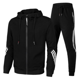 Mens Tracksuit 2 Piece Casual Pants Hoodie Sweatsuit Sweatshirt Sports Suit Set