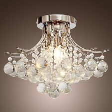 Crystal Flush Empire Silver 3 Light Chandelier Pendant Ceiling Fixture Lighting
