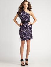 SACHIN + BABI ANKASA $565 purple picasso print one sleeve Frenchie dress 4 NEW
