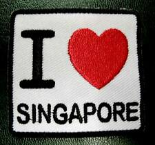 I LUV LOVE SINGAPORE SIGN LOGO Embroidered Iron on Patch Free Postage