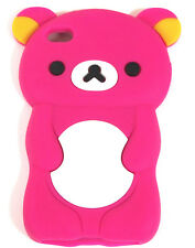 iPod Touch 4 4TH Hot Pink Cute Teddy Bear Silicone Rubber Soft Skin Cover Case