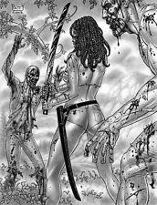 "SEAN PATTY original art, WALKING DEAD, MICHONNE, sword, Zombies, 8.5""x11"", 2012"