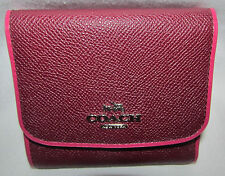 New Coach Small Tri-Fold Purple Plum Edgestain Pebbled Leather Wallet Coin Purse