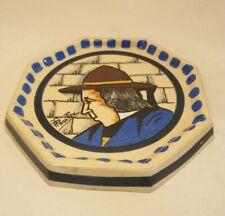 Stunning P Fouillen Henriot Quimper Hand Painted Signed Hexagonal Teapot Stand
