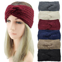 Sequin Knitted Knotted Headband Women Ear Warm Turban Headwrap Hair Accessories