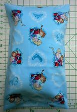 Frozen Sisters Anna & Elsa on aqua Small Pillow Case with Travel-Toddler Pillow