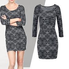 schönes Jerseykleid Kleid Gr.34 Stretch Spitzen-Muster schwarz weiß mini