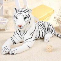 Realistic White Tiger Plush Wild Teddy Toy Stuffed Animal Pillow Kid Doll Decor