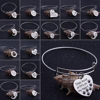 Silver Bangle Moon Bracelet Heart Pendant Charm Bracelet Gift Family Best Friend