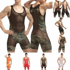 Hot New Men's Bodysuit Wrestling Singlet Outfits Leotard Underwear Long John