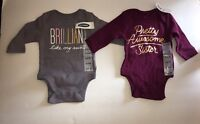 Old Navy Baby Girl  0-3 Months BodySuit Long Sleeves Lot Of 2 NWT