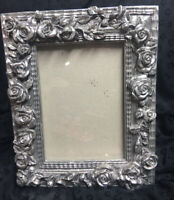 "Picture Frame Silver Roses 8x10"" And Picture Size 5x7"""