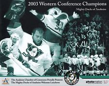 Mighty Ducks Of Anaheim Team 8x10 Photo 2003 Western Conference Champions Rare