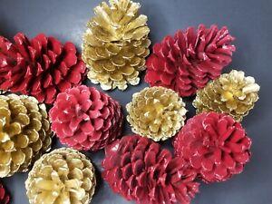🎅15 GOLD&RED PAINTED PREMIUM PONDEROSA PINECONES_ Wreaths& Holiday Decor