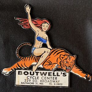 """Vintage Style Boutwell's Motorcycle Center 9"""" Porcelain Sign pin up"""