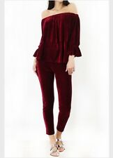 Wine Colour Velvet Bardot Top Thrill Tracksuit With Legging