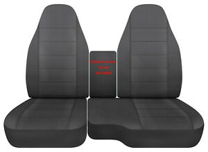 Car seat covers cotton solid charcoal fits 98-03 FORD RANGER 60/40 highback