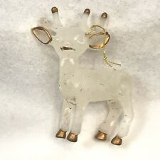 Vintage Christmas Ornament Reindeer White Gold Hard Plastic Glitter Deer Decor