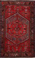 Vintage Hamedan Handmade Traditional Geometric Area Rug Wool Oriental Carpet 4x7