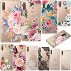 For Samsung Galaxy A7 2018 S9 S10e Slim Clear Flowers Painted Rubber Case Cover