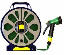 More details for new 50ft flat garden hose pipe reel with spray nozzle gun outdoor watering 15m
