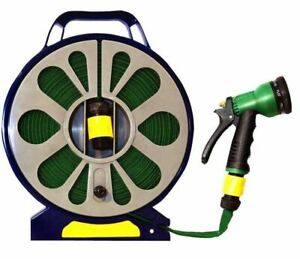 NEW 50FT FLAT GARDEN HOSE PIPE REEL WITH SPRAY NOZZLE GUN OUTDOOR WATERING 15M