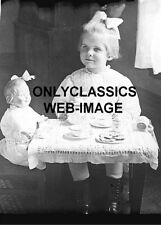 1896 VICTORIAN CHILD HER DOLL TEA PARTY SET SWEET CUTE GIRL 5x7 PHOTO AMERICANA