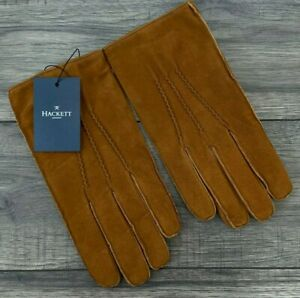 HACKETT TAN GOAT LEATHER SUEDE GLOVES SIZE M RETAIL BNWT